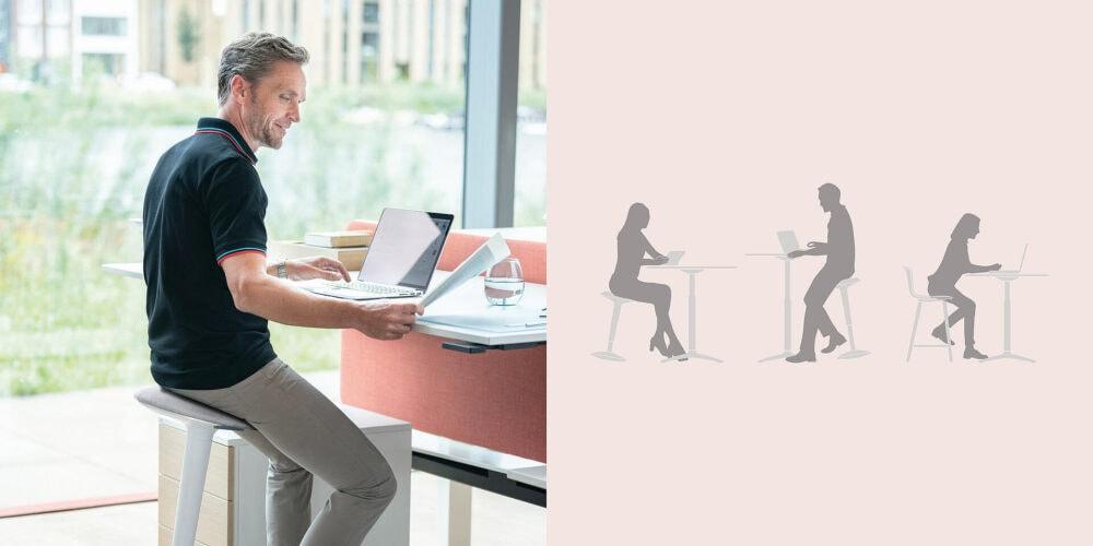 Ergonomischer Stehhocker am höhenverstellbaren Schreibtisch