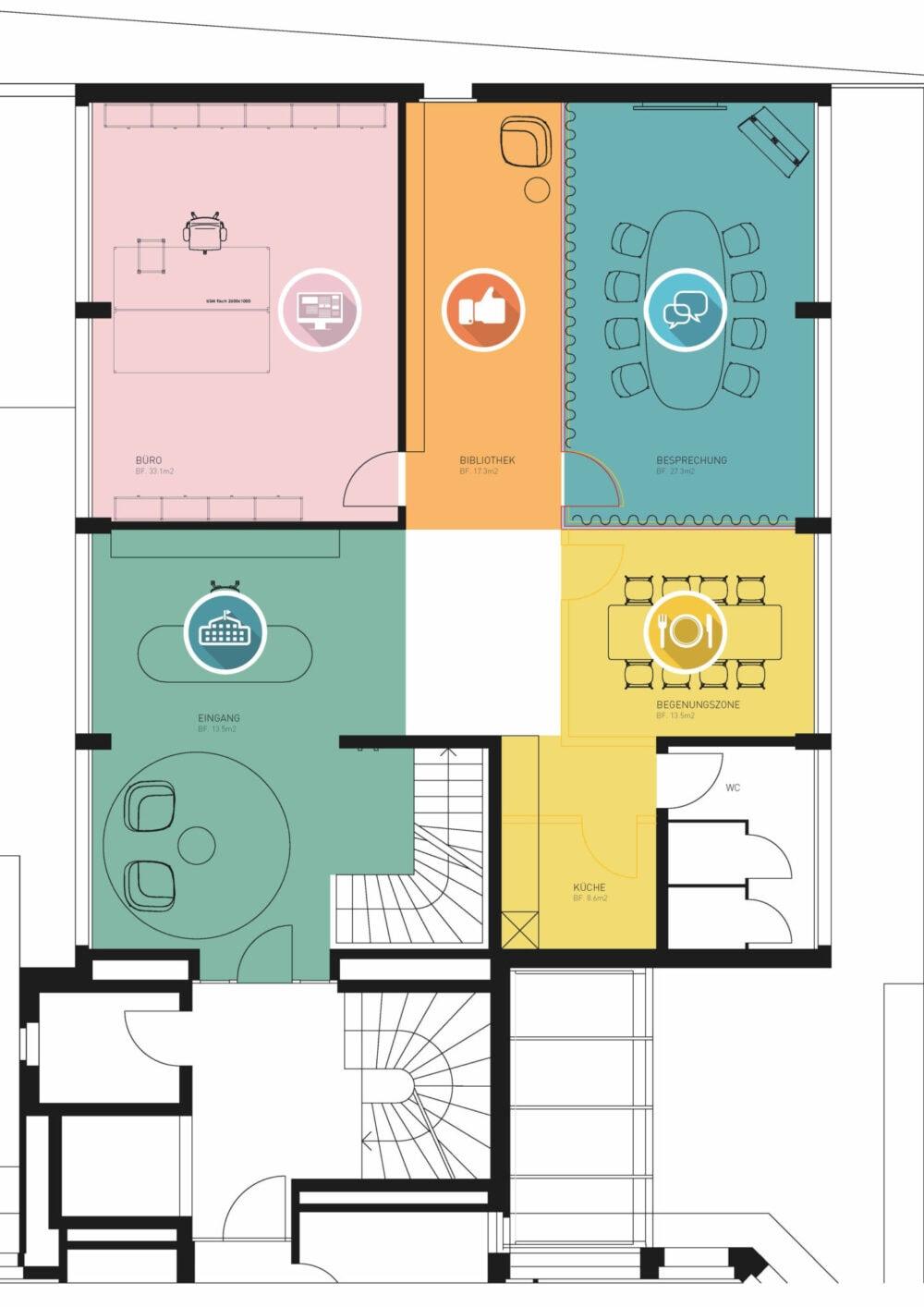 Zonenplan Ausstellung mit Arbeitsplätzen und Bereichen wie Cafeteria und Empfang