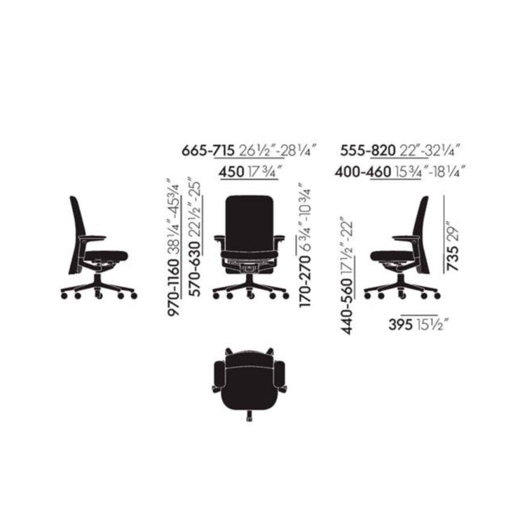 vitra pacific chair buerostuhl mittelhoch tress